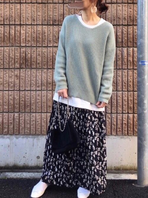 [coca] 上品花柄ロング丈プリーツスカート2