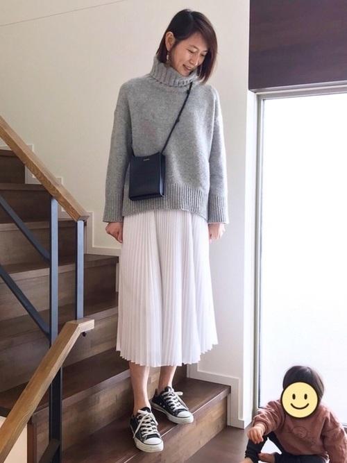 [CHOCOA] 産前産後ロングプリーツ マタニティスカート