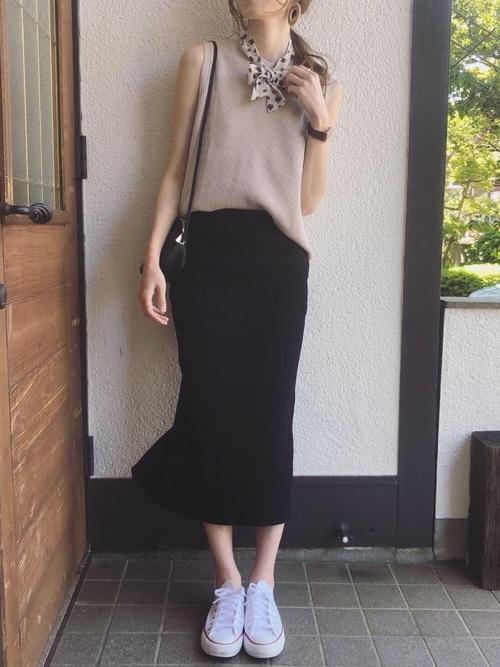 【ユニクロ】ワッフルT・タイトロングスカート