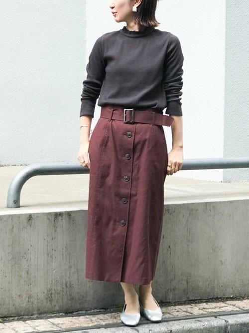 [nano・universe] フロント釦ベルト付きスカート