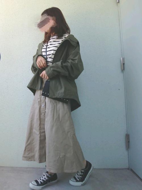 チノフロントボタンロングスカート3