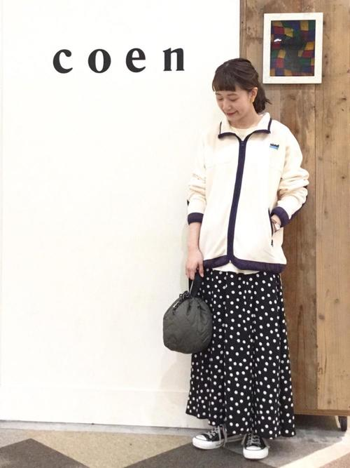 [coen] 【新色:ネイビー登場】プリントタックロングスカート