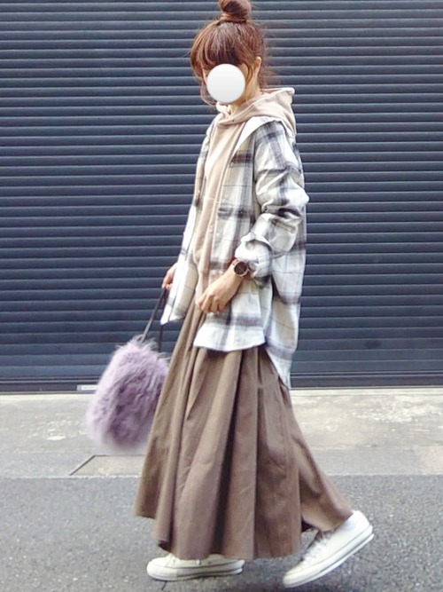 [La-gemme] ピーチスキンボリュームロングスカート