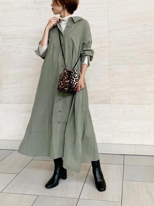 [STYLE BAR] 【STYLEBAR】ミリタリーロングシャツドレス