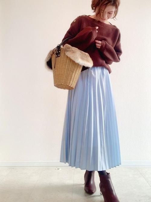 ユニクロのスカートを使った秋冬コーデ1