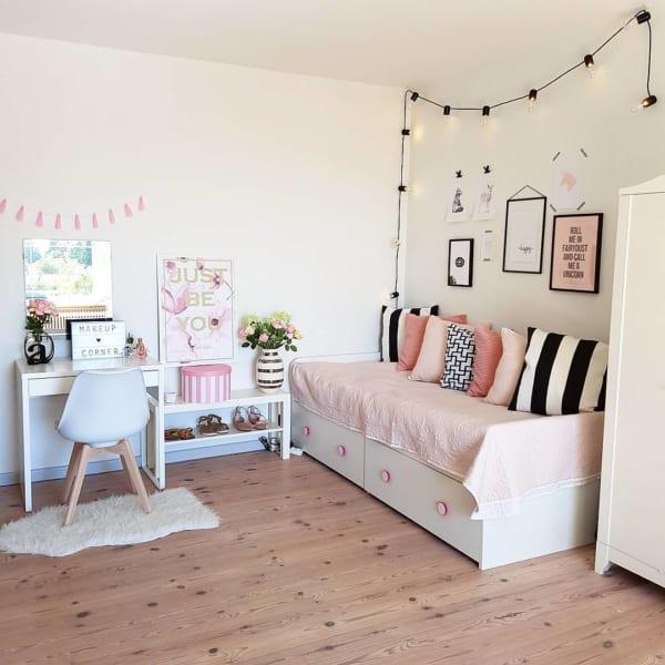 女の子らしいピンクを使った海外の子供部屋