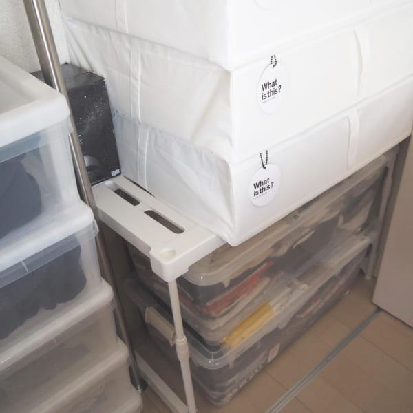 ラックを使ったクローゼットの布団収納