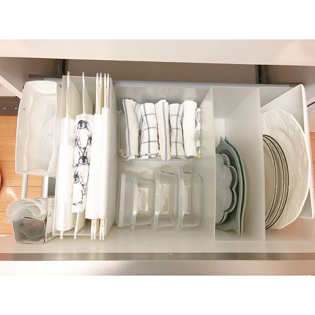 ファイルボックスを活用した食器収納