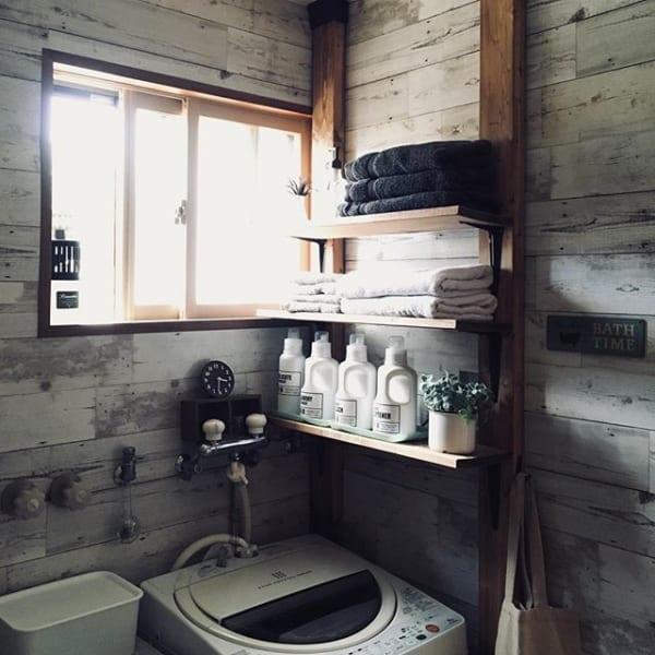 木製オープン棚を使ったすっきり簡単収納