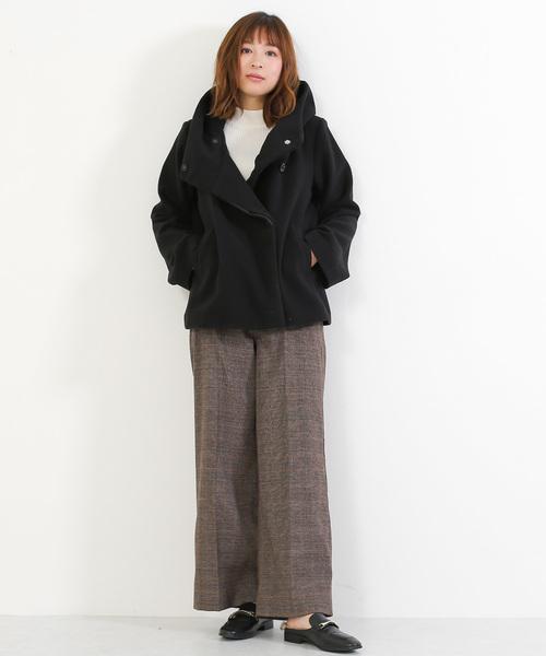 [Social GIRL] スタンドカラー風ミニフード付きショートコート