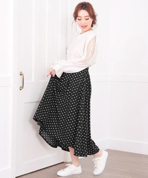 [Nina] ドット柄フィッシュテールロングスカート