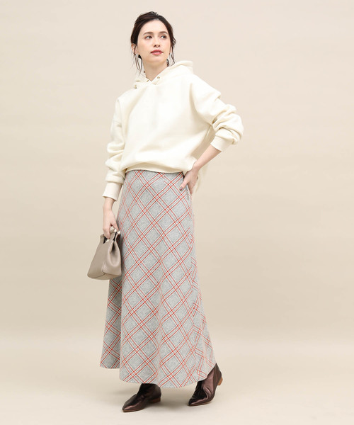 [ROPE'] バイヤスチェックロングスカート