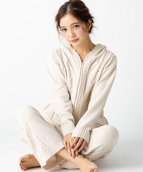 [fran de lingerie] teddy knit テディニット ケーブル編みパーカー
