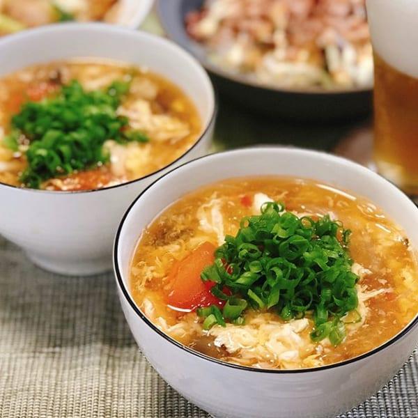 トマトを使ったレシピ!卵の簡単スーラータンスープ
