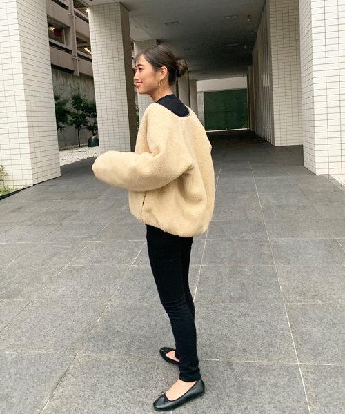 ボアブルゾンジャケットコート×スキニーパンツ