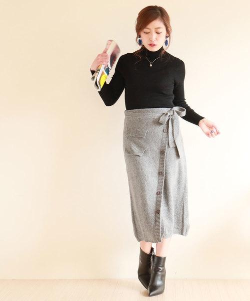 [Sawa a la mode] ウエストリボンの可愛いニットラップスカート