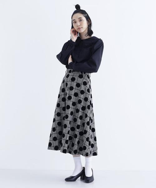 [merlot] ドット×チェック柄フレアースカート2315