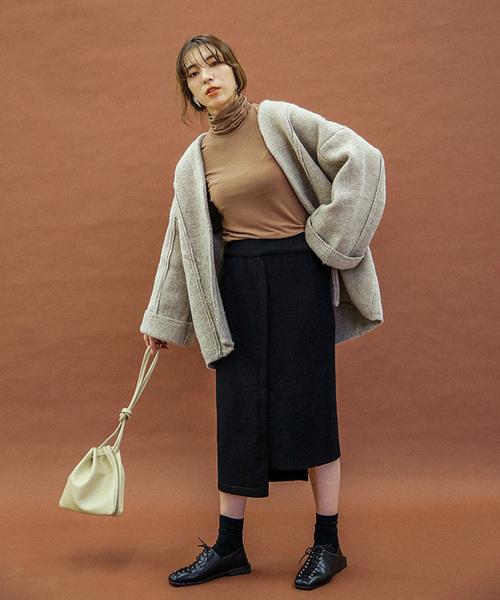 [select MOCA] 2WAYアシンメトリーニットスカート(畦編み×リブ編み切り替えデザインミディアム丈タイトスカート)