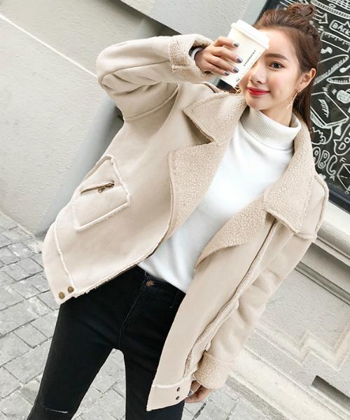 [gossip!ロサンゼルス] フェイクムートン ジャケットコート VSN【ama】