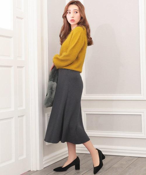 [Nina] ニットソーロングフレアスカート