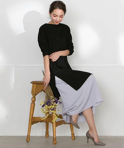 [LAUTREAMONT ONLINE SHOP] 【WEB別注】セット企画  スリットワンピースとプリーツスカートのレイヤードスタイル