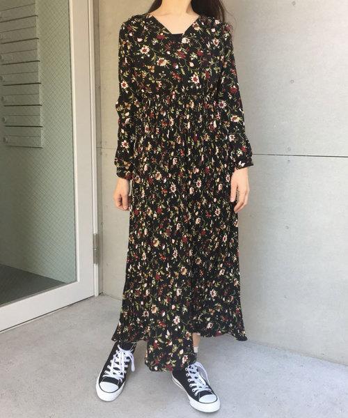 [CORNERS] 花柄プリーツカシュクールワンピース