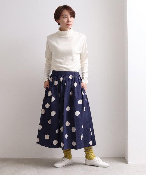 [bulle de savon] △ぼんやりドットプリント ギャザースカート