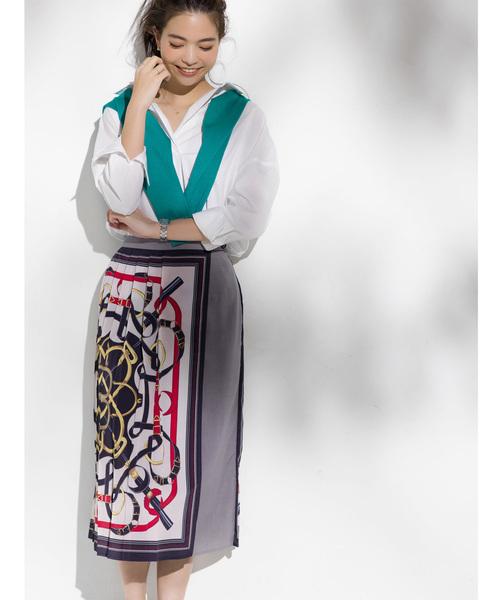[tocco closet] Luxe lineスカーフ柄プリーツラップスカート