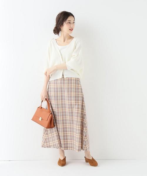 [IENA] チェックフレアロングスカート◆