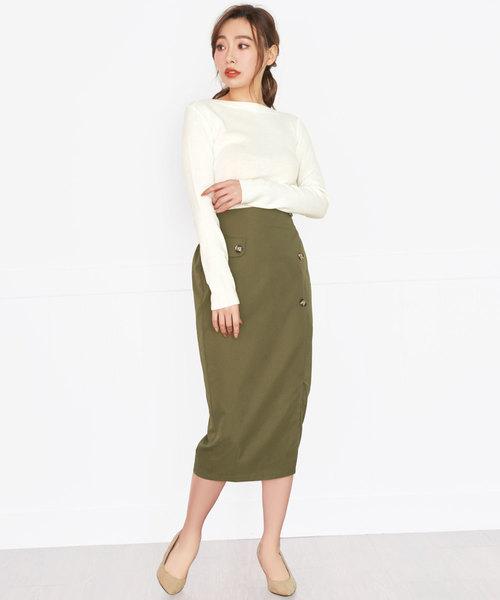 [Nina] トレンチ風ミモレ丈タイトスカート