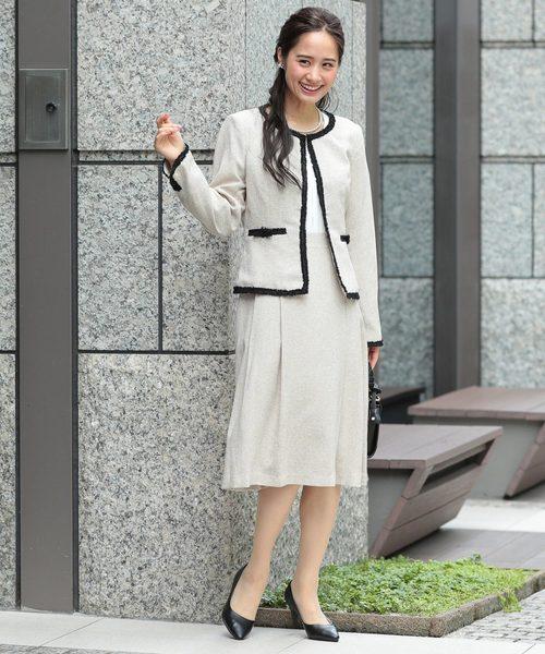 [DRESS STAR] セットアップドレス/ノーカラーツイードジャケット×ドッキングワンピース