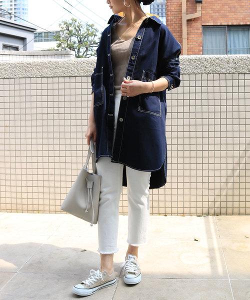 6[and Me(アンドミー)] 綿ツイルロング丈ミリタリーシャツジャケット オーバーサイズ
