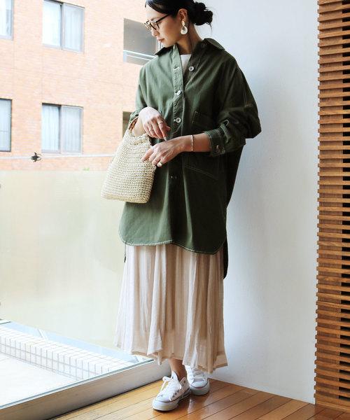 9[and Me(アンドミー)] 綿ツイルロング丈ミリタリーシャツジャケット オーバーサイズ