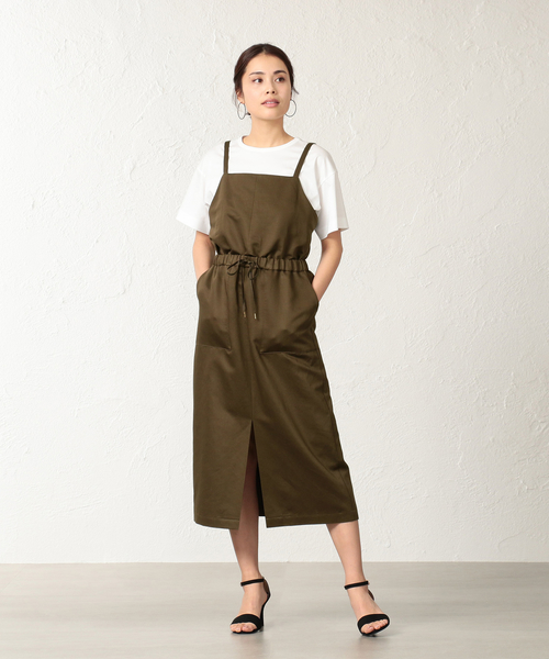 [SANYO SELECT] コットンラミー高密度サテン サロペットスカート