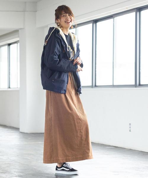 [coen] コーデュロイロングフレアスカート