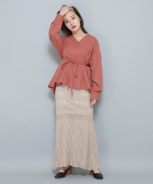 [CIAOPANIC] かぎ針編み風ニットマーメイドスカート/セットアップ