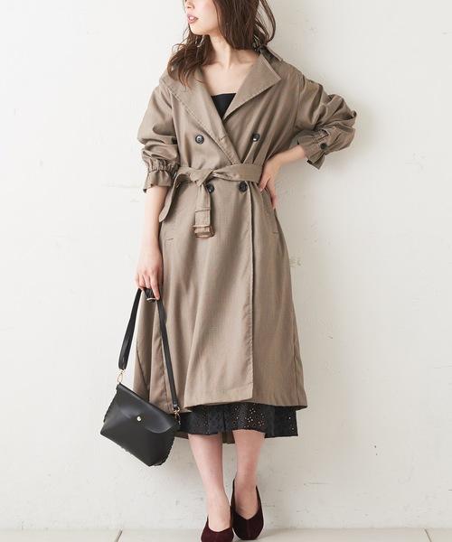 [natural couture] バックギャザートレンチコート