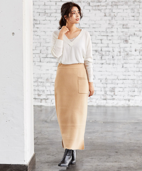 [ViS] 【WEB限定】【セットアップ対応】片ポケットダンボールニットスカート