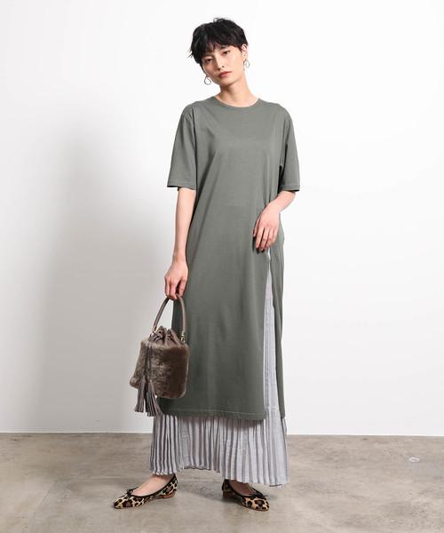 [ROPE'] 【19AW】プリーツスカートレイヤードTシャツワンピース