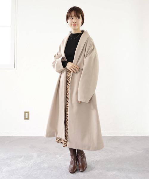 ガウンコート×レオパード柄スカート