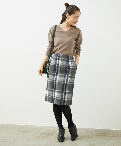 [ROPE' PICNIC] 【着丈が選べる】ビッグチェックアイラインスカート