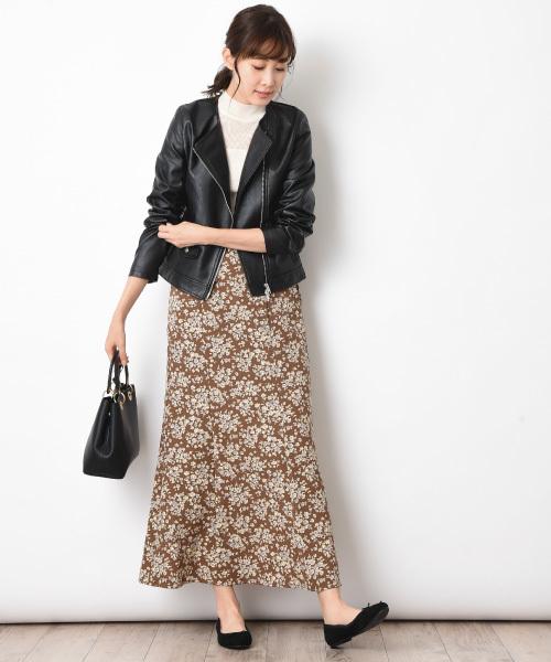 [INTERPLANET/actuel] 小花柄ソフトマーメイドスカート