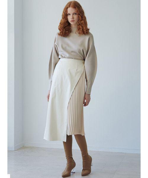 [LAGUNAMOON] フェイクレザーレイヤードスカート