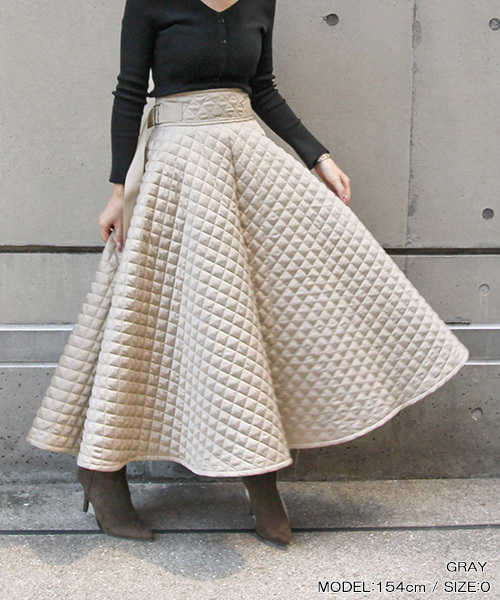 [RANDA] キルティングフレアスカート