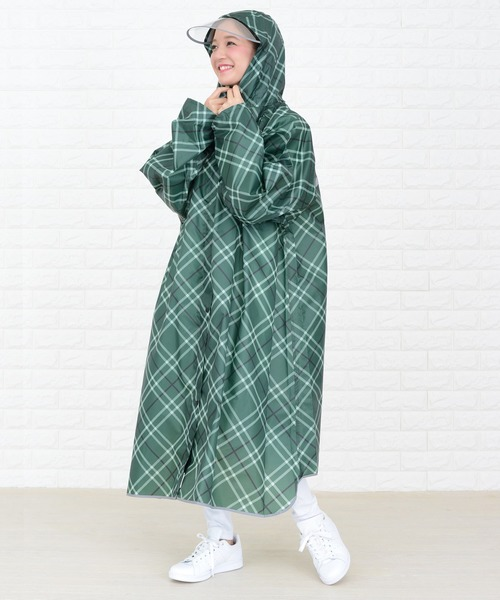 [Lace Ladies] 取り外し可能つば付 長袖前開きジッパー軽量レインポンチョ フリーサイズ