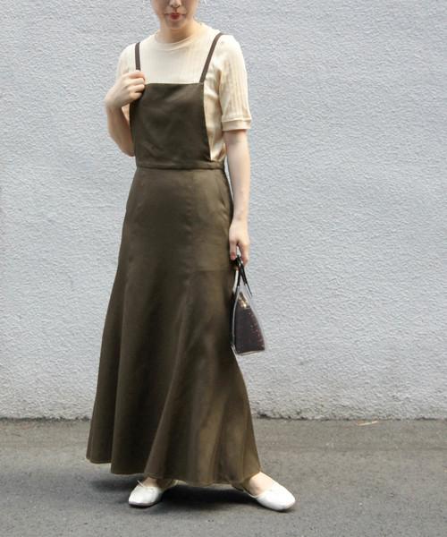 [ADAM ET ROPE'] 【WEB限定】ツイルサロペットスカート