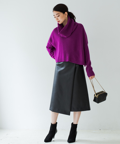 [Loungedress] フェイクレザーラップスカート