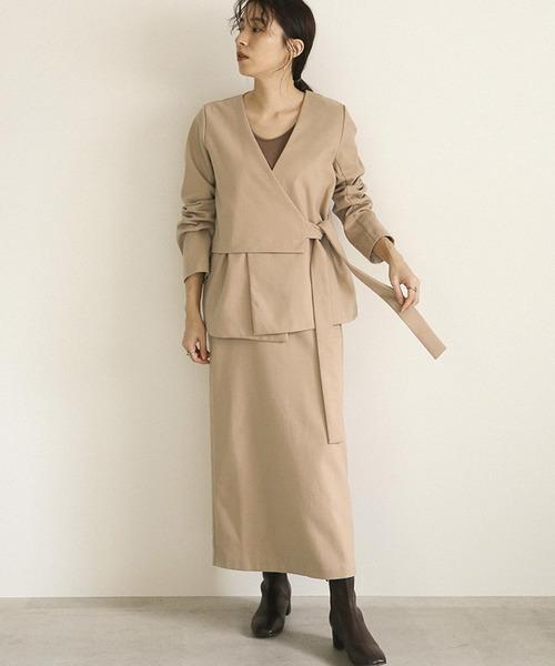 [select MOCA] セットアップロングスカート/バックスリットデザインバックウエストゴムスカート