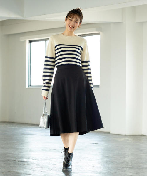 [coen] 【WEB限定】ポンチイージーミドルフレアスカート