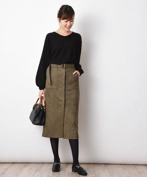 [INTERPLANET/actuel] スエードポンチタイトスカート
